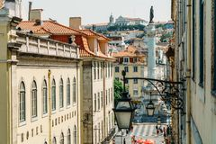 Rossio Square Praca de Don Pedro IV Is Located In Pombaline Downtown Of Lisboa And Is One Of The Main Touristic Squares. LISBON, PORTUGAL - AUGUST 20, 2017 stock image