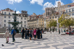 Rossio square with Statue of Dom Pedro IV Royalty Free Stock Image