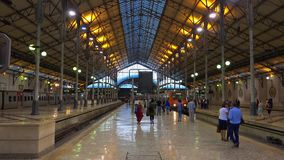 Rossio Train station in Lisbon - LISBON / PORTUGAL - JUNE 14, 2017. Rossio Train station in Lisbon - LISBON, PORTUGAL 2017 stock footage
