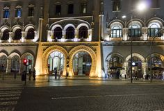 Rossio Train Station main entrance at night Royalty Free Stock Image