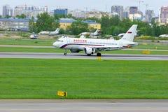 Rossiya航空公司空中客车A319-111航空器在普尔科沃国际机场在圣彼德堡,俄罗斯 库存照片