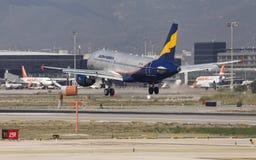 Rossiya Airbus A319 Landing at Barcelona Royalty Free Stock Image