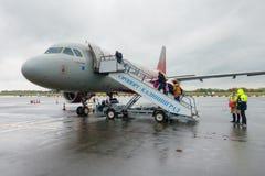 Rossiya airlines Aeroflot airplane at the airport Khrabrovo. Kaliningrad, Russia - October 12, 2017: Rossiya airlines Aeroflot airplane at the airport Khrabrovo Stock Photos