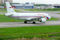 Rossiya Airlines Airbus A319-112 aircraft in Pulkovo International airport in Saint-Petersburg, Russia. SAINT-PETERSBURG, RUSSIA - MAY 23, 2015.  Rossiya Stock Photography