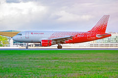 Rossiya Airlines Airbus A319 airplane in new livery is landing in Pulkovo International airport in St Petersburg, Russia Stock Image