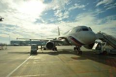 Rossiya linii lotniczych samolot w Pulkovo lotnisku Zdjęcia Stock