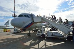Rossiya linii lotniczych samolot w Pulkovo lotnisku Obrazy Royalty Free