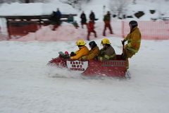 Rossland Winter Carnival Bobsled Stock Photo