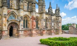 Rosslyn Chapel on a sunny summer day, located at the village of Roslin, Midlothian, Scotland. Stock Photo