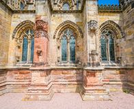 Rosslyn Chapel on a sunny summer day, located at the village of Roslin, Midlothian, Scotland. Royalty Free Stock Image