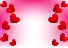 Rosso astratto del cuore per Valentine Card Design Fotografie Stock Libere da Diritti