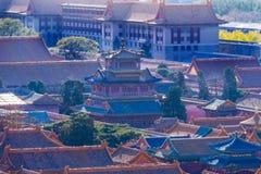 Rosso blu Dragon Pavilion nella Città proibita Pechino Cina fotografie stock