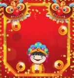 Rosso cinese felice dell'nuovo anno e cartolina d'auguri dell'oro Immagini Stock