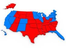 Rosso contro le elezioni presidenziali blu della mappa degli Stati Uniti America Fotografia Stock Libera da Diritti
