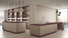 Rosso costoso di lusso minimalista e fresa di legno della cucina, dell'isola, del lavandino e del gas, spazio aperto, finestra pa royalty illustrazione gratis