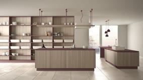 Rosso costoso di lusso minimalista e fresa di legno della cucina, dell'isola, del lavandino e del gas, spazio aperto, finestra pa illustrazione di stock