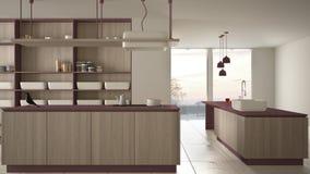 Rosso costoso di lusso minimalista e fresa di legno della cucina, dell'isola, del lavandino e del gas, spazio aperto, finestra pa illustrazione vettoriale