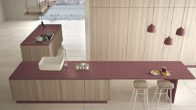 Rosso costoso di lusso minimalista e fresa di legno della cucina, dell'isola, del lavandino e del gas, spazio aperto, pavimento c royalty illustrazione gratis