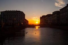 Rosso de Ponte, canal grande trieste Imagen de archivo