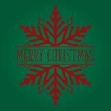 Rosso del fiocco di neve di Buon Natale su verde Fotografia Stock