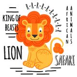 Rosso del leone con iscrizione su un fondo bianco isolato Fotografie Stock Libere da Diritti