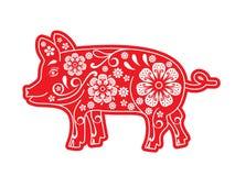Rosso del maiale, carta tagliata, origami, fiori, ornamento Il porcellino è un simbolo del nuovo anno cinese 2019, 2031 horoscope illustrazione di stock