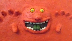 Rosso del mostro del plasticine dell'argilla Fotografia Stock Libera da Diritti