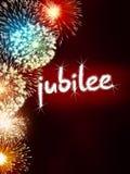 Rosso del partito di celebrazione del fuoco d'artificio di anniversario di giubileo Immagini Stock