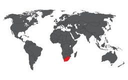 Rosso del Sudafrica sulla mappa di mondo grigia Fotografia Stock