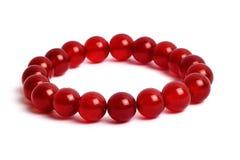 Rosso dell'agata, pietra fortunata del braccialetto del diaspro Fotografia Stock