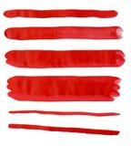 Rosso della banda dell'acquerello Fotografie Stock Libere da Diritti