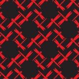 Rosso della libellula sul modello senza cuciture nero Fotografia Stock Libera da Diritti