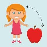 rosso della mela della frutta del fumetto della ragazza Fotografia Stock