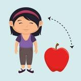 rosso della mela della frutta del fumetto della ragazza Fotografie Stock Libere da Diritti