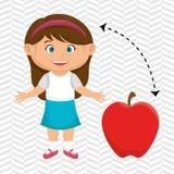 rosso della mela della frutta del fumetto della ragazza Fotografia Stock Libera da Diritti