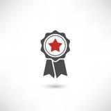 Rosso della stella del distintivo Immagini Stock