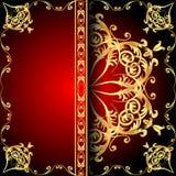 Rosso della struttura del fondo con il modello dell'oro (en) Fotografie Stock