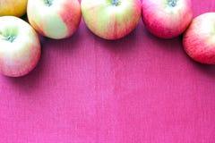 Rosso di Apple sul giardino rosa di agricoltura del fondo Fotografia Stock