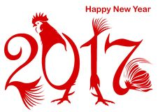 Rosso di colore del gallo di stile del buon anno 2017 Fotografia Stock