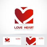 Rosso di logo del cuore di amore Fotografia Stock
