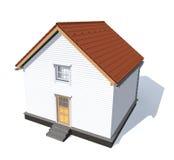Rosso di modello della casa di architettura isolato nel bianco Fotografie Stock