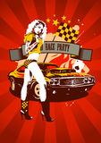 Rosso di progettazione del partito della corsa del motore retro Fotografia Stock Libera da Diritti