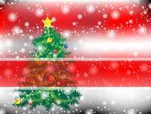 Rosso di stile del fondo dell'albero di Natale Immagini Stock