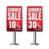 Rosso 10% 30% di vendita di estate bandiera Affare vendita sulla b bianca Fotografie Stock Libere da Diritti