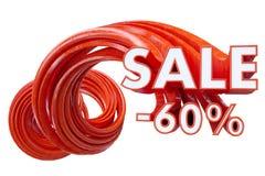 Rosso di vendita su fondo bianco illustrazione 3D illustrazione di stock