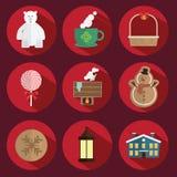 Rosso di vettore dell'icona di Natale Fotografia Stock