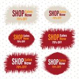 Rosso e beige irruvidisca le etichette comperano vendite un insieme di 70 per cento fotografia stock