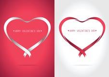 Rosso e bianco del nastro del cuore Immagine Stock Libera da Diritti