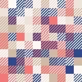 Rosso e blu navy di corallo con oro Fondo geometrico astratto colorato casuale del modello di mosaico Fotografie Stock