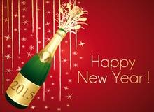 Rosso e cartolina d'auguri del champagne dell'oro Fotografia Stock Libera da Diritti